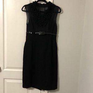 Calvin Klein crepe ruffled sheer top dress